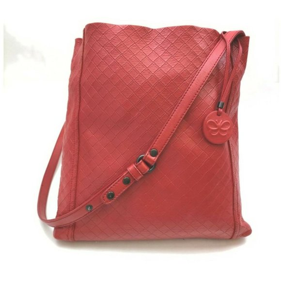"""Bottega Veneta Quilted Red Leather Messenger Hobo"